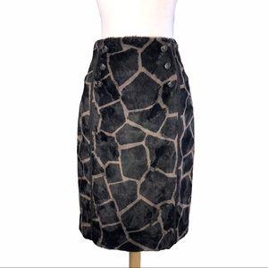 Eccoci Brown Giraffe Print Skirt